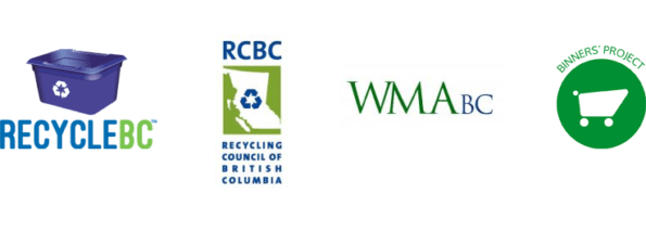 Logos of Recycle BC, Recycling Council of BC, Waste Management Association of BC, & Binners' Project