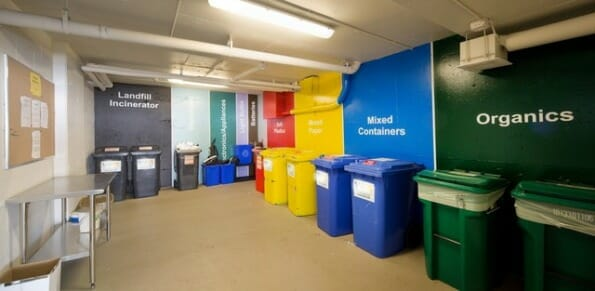 Color Coded Garbage Room